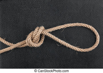Rope lies on natural leather