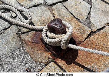 Rope mooring, Portofino, Liguria, Italy