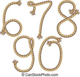 Rope Number Alphabet. vector illustration