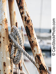 Rope on a fishing ship mounted on a pole