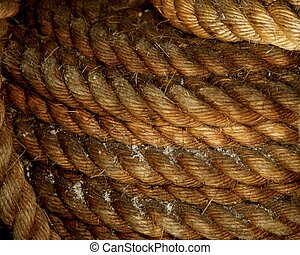 Rope on boat's deck.