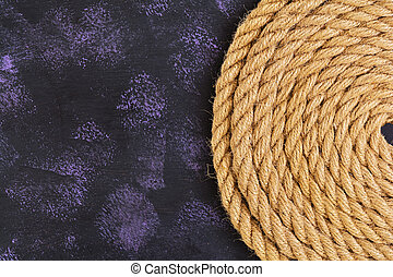 Rope on dark background. Top view