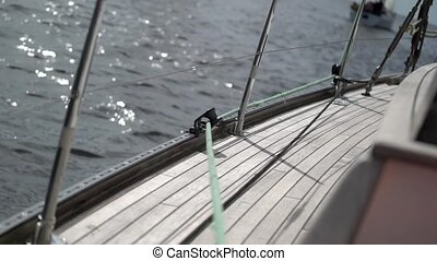 Rope on sailing yacht at windy sunny day