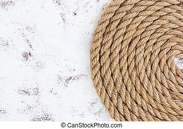 Rope on white background. Top view