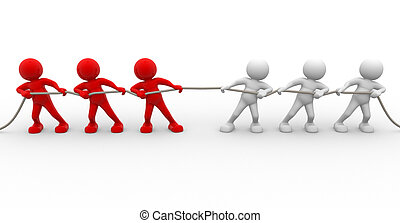 Rope pulling - 3d people - human character, person rope...
