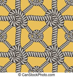 Rope seamless pattern, trendy vector wallpaper background. Cord with knots stylish endless illustration. Usable for fabric, wallpaper, wrapping, web and print.