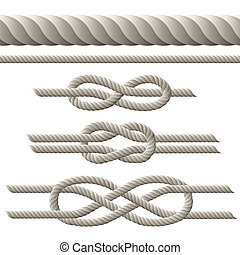 Seamless rope and rope with different knots. Vector illustration