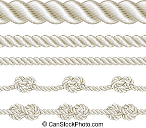 Rope set - Seamless rope and rope with different knots. ...