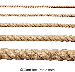 rope string - collection of various ropes on white...