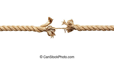 close up of a damaged rope on white background with clipping path