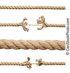 rope string risk damaged - collection of various ropes on...
