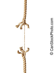 rope string risk damaged - close up of a damaged rope on...