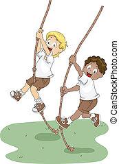 Rope Swing - Illustration of Kids Holding on to Swinging...