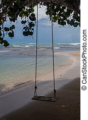 Rope swing on a beach in Puerto Viejo de Talamanca village, Costa Ri