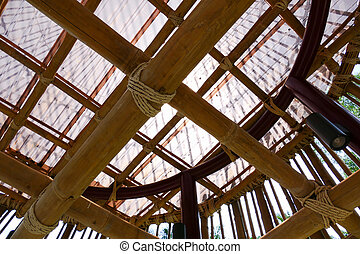 rope tied on bamboo structure