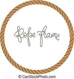 Rope vector round frame, may use for invitation in you designs marine style