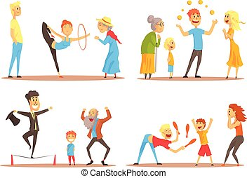 Rope walker and magician performing before happy people. Circus or street actors colorful set of colorful detailed vector Illustrations isolated on white background