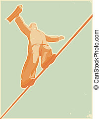 Rope-walker: risky business. Vector illustration.