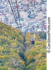 Rope way over Mt. Moiwa autumn season, Hokkaido Japan
