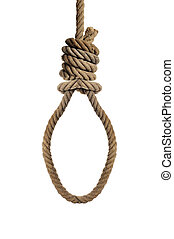 rope with a hangmans noose - an old hemp rope with a...
