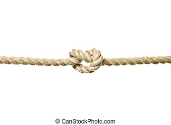 Rope with a Tied Knot isolated on white background