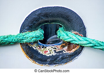 Rope with anchored ship