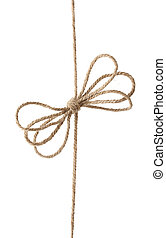 Rope with bowknot, isolated on white.