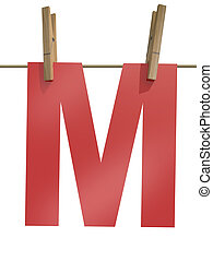 Rope with clothespin and letter m, 3d illustration isolated...