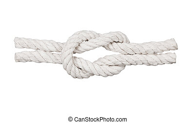 Rope with knot, isolated on white background