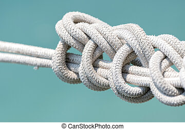 rope with knots for boat mooring