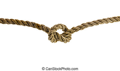 Rope with knots isolated on a white background close-up