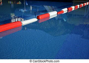 Swimming Pool And Lane Rope Closeup Of Red Lane Rope In