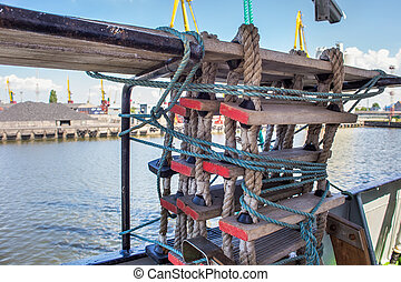 Rope-wood ladder on a sailing ship.
