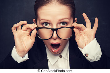 ropen, rolig, lärare, snopen, glasögon