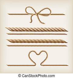Ropes and bow - Ropes and rope bow on the light brown...
