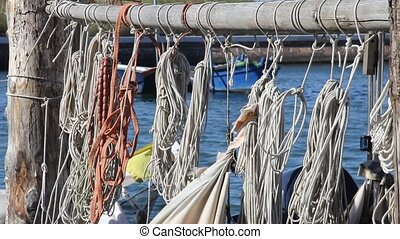 ropes for the mooring boat at the port