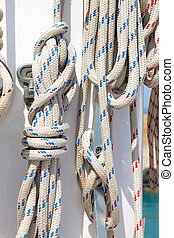 ropes in luxury sail boat