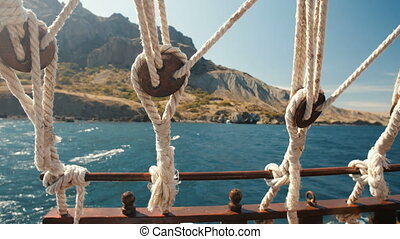 Ropes of a Floating Ship - view from the stern of the pirate...