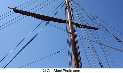 Ropes of a Sail Boat in the Wind
