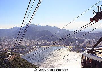 ropes of cable car at Sugar Loaf station