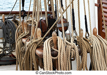 Ropes on a ship - Closeup of ropes on a ship