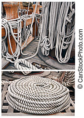 Ropes on an old yacht