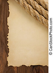ropes on old vintage ancient paper background