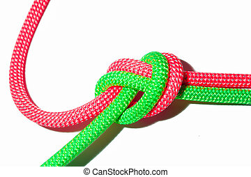Ropes tied together by a node