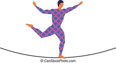 ropewalker, イラスト, 数字, tightrope-dancer., artist., サーカス, 若い, 長い間, ロープ, バックグラウンド。, レオタード, ベクトル, バランスをとる, funambulist, wire-dancer, 歩行者, 白