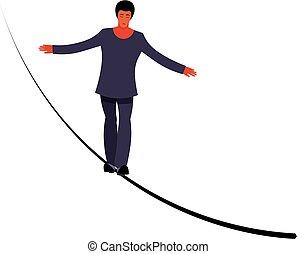 ropewalker, illustration, figure, tightrope-dancer., artist., cirque, jeune, long, corde, arrière-plan., collant, vecteur, équilibrage, funambulist, wire-dancer, marcheur, blanc