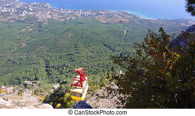 Ropeway car on Ah-Petri in the Crimea goes down