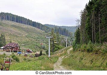 ropeway in Carpathians of Ucraine - ropeway in Carpathians...