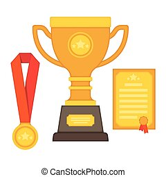 rophy and awards. Flat Style - vector illustration