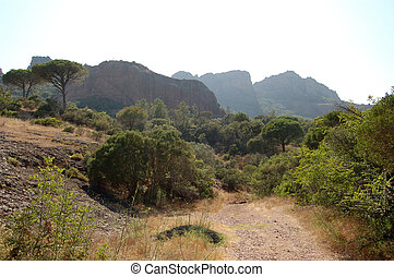 Roquebrune from path - Roquebrune from the approaching path,...